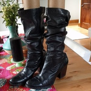 Frye - rory black leather tall slouch boots 10